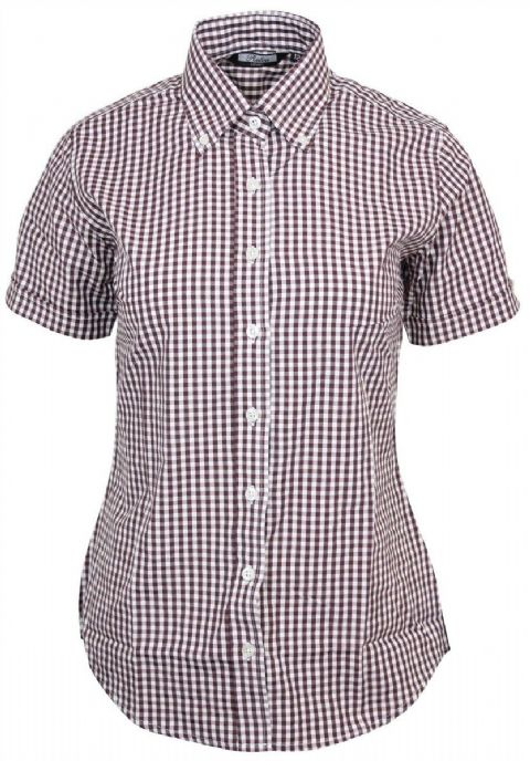 LADIES RELCO BURGUNDY GINGHAM SHORT SLEEVE SHIRT - BurgGING